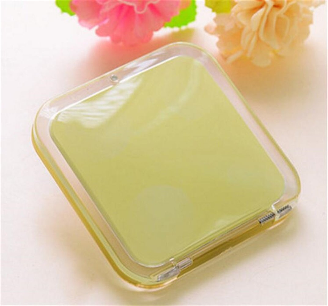 Childrens Mirror Mini Square Simple Candy Small Glass Mirrors Circles for Crafts Decoration Cosmetic Accessory Yellow