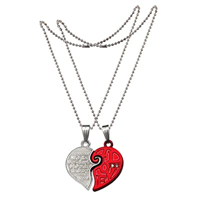 amazon stainless matching pendant rl com dp two couple lovers tone set heart half steel