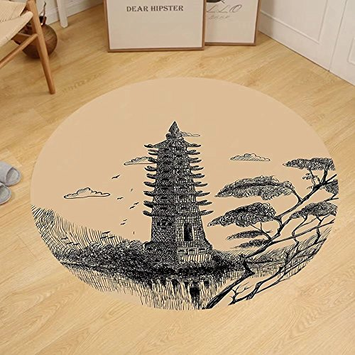 Gzhihine Custom round floor mat Asian Decor Old Stone Tiered Tower Vintage Style Taoist House Of Faith Historical Bedroom Living Room Dorm Decor Pale Brown Black by Gzhihine