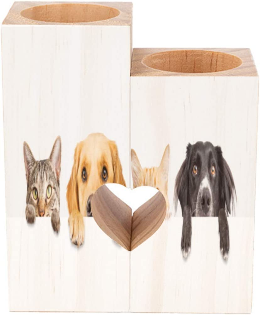 Romantic Wooden Tea Light Candle Holders Set of 2 Funny Cat and Dog Moved Their Heads Up with Their Paws White Decorative Heart Shaped Wood Tealight Holders for Wedding Home Decor Gifts Square Tall