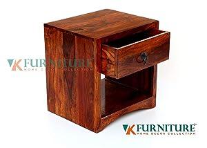 VK Furniture Sheesham Wood Bedside Table for Bedroom   Wooden Side End Table   with Drawer Storage   Teak Brown Finish