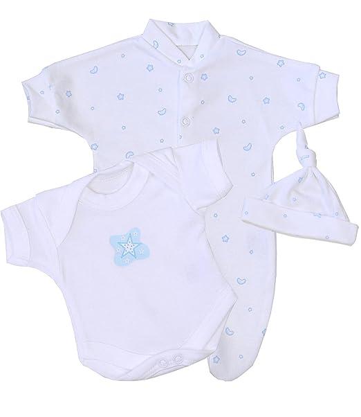 BabyPrem Bebé Prematuro Pijama Body Sombrero Ropa Rosa Niños 32-38cm Azul Luna y Estrellas