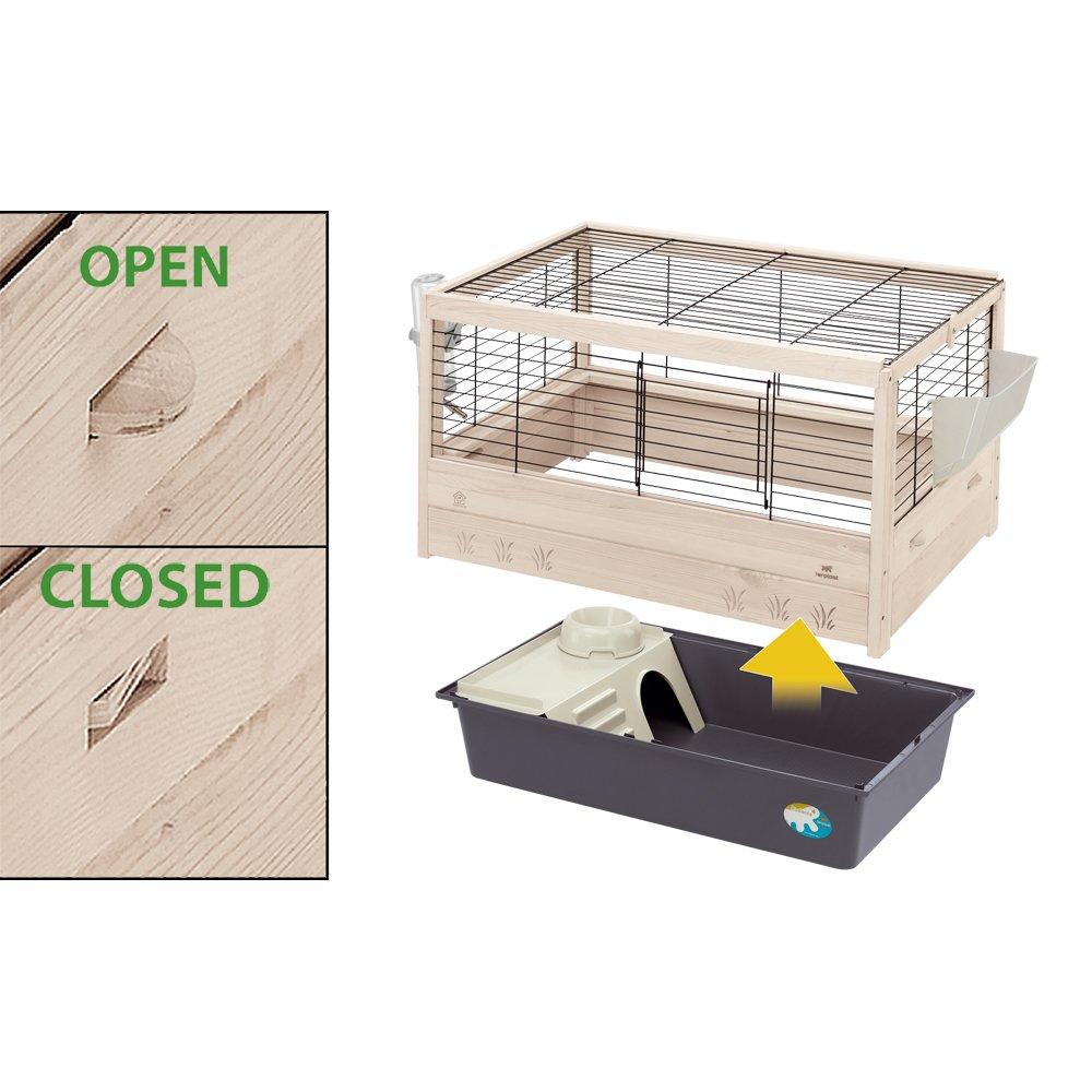 Ferplast Arena 100 Rabbit Habitat, Elegant Wooden Structure, Black by Ferplast (Image #2)