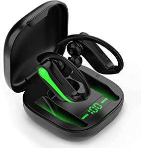 Wireless Earbuds Sports Chstarina Bluetooth 5.1 Earbuds IP7 Waterproof Wireless Headphones with Charging Case Ear Hook 40H Playtime Deep Bass TWS In-Ear Buds Noise Cancelling Earphones for Gym Running