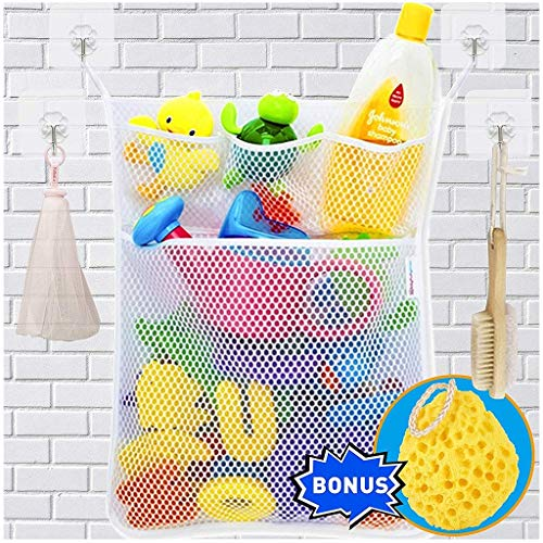 Clearance Sale ! Wulofs New Fashion Baby Toy Mesh Storage Bag Bath Bathtub Doll Organize,4 pockets,3 Small and 1 Big,with 4 Hooks and 1 Sponge