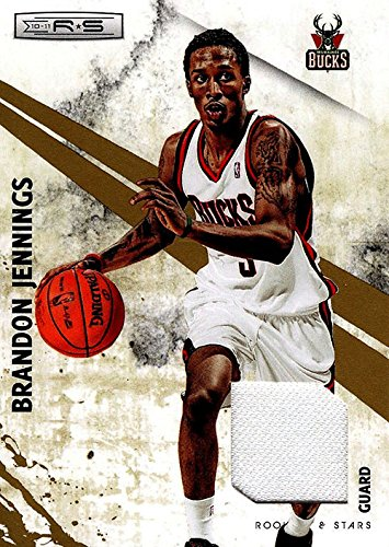 Signed Jennings, Brandon (Milwaukee Bucks) Brandon Jennings 2010-11 Panini Rookie & Stars Unsigned Basketball Jersey Card. #82/299 autographed
