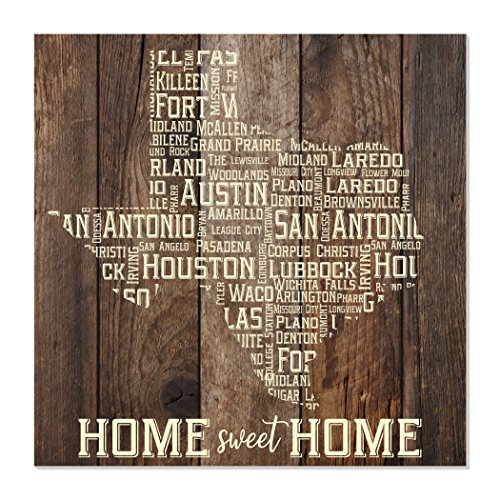 MRC Wood Products Texas Cities State Shape Rustic Wall Sign 12x12 (Brown) -