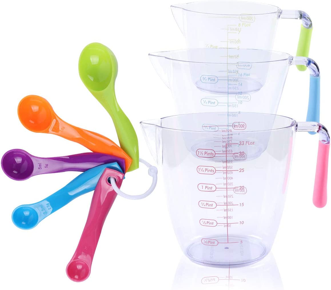 200//400//900ml Kitchen Plastic Transparent Measuring Cup Baking Measurement T.UK
