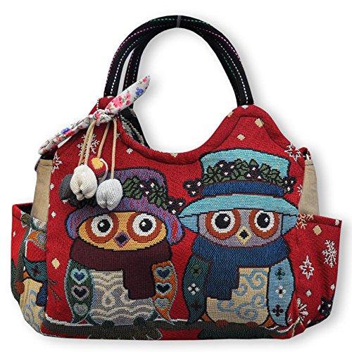 Wilai Gmbh Magnifique sac à main importé de Thaïlande, motifs de hibou (42233)