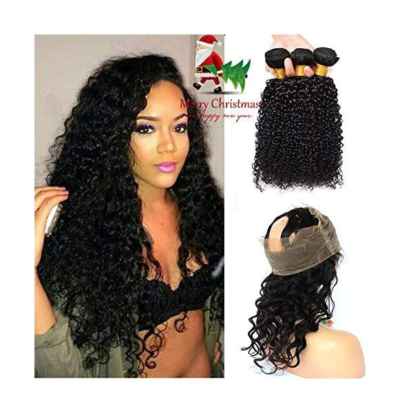 360 Lace Frontal With Brazilian Curly Hair 3 Bundles 7a Grade Kinky