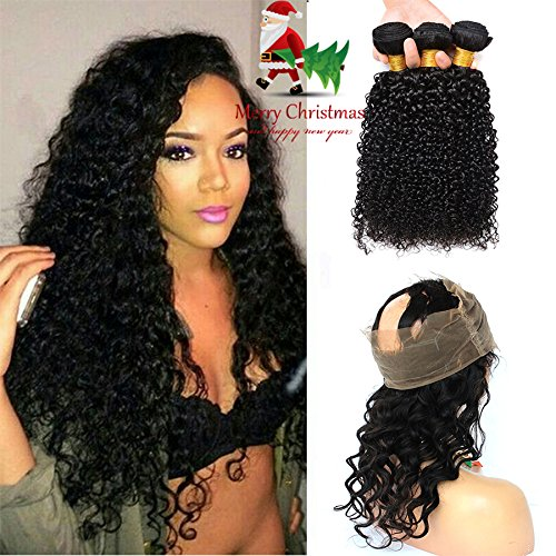 360 Lace Frontal With Brazilian Curly Hair 3 Bundles 7A Grade Kinky Curly Hair Bundles Virgin Human Hair Extensions With 360 Free Part Lace Frontal Closure (22 24 26+20, Natural Color) for $<!--$184.99-->