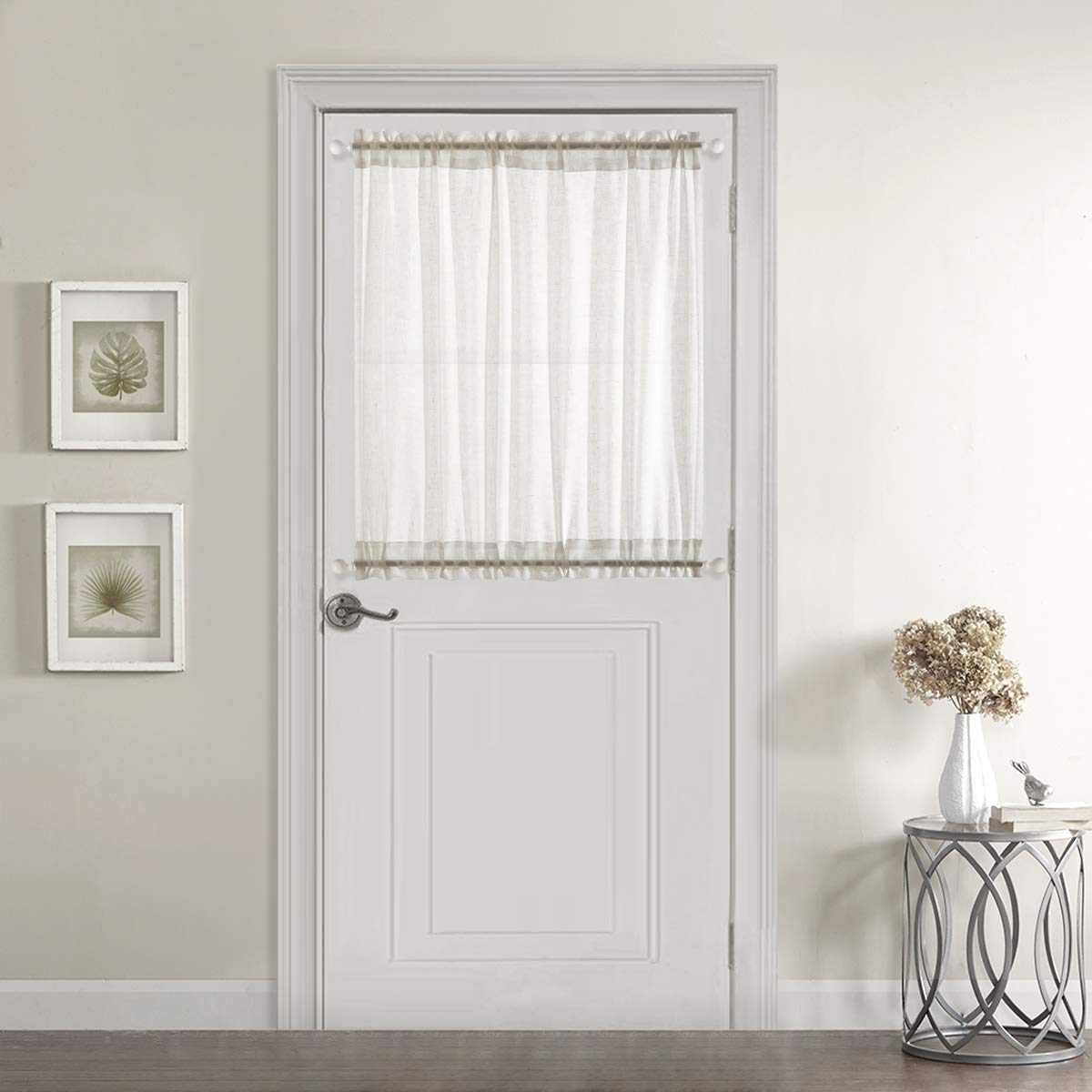 Dreaming Casa Sheer French Door Curtains Linen Textured One Panel Rod Pocket 40 inches Long Curtains 1 Panel, White,52