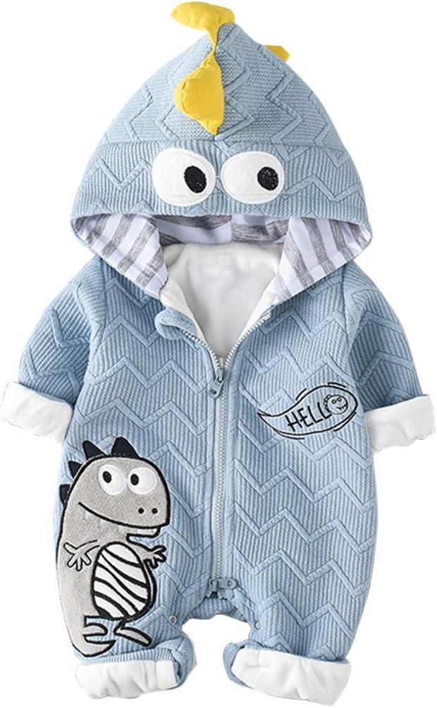 Bebé Niños Niñas Mono Dinosaurio Mameluco con Capucha Manga Larga Peleles Algodón Pijama Infantil Traje de Dormir Recién Nacido Onesie
