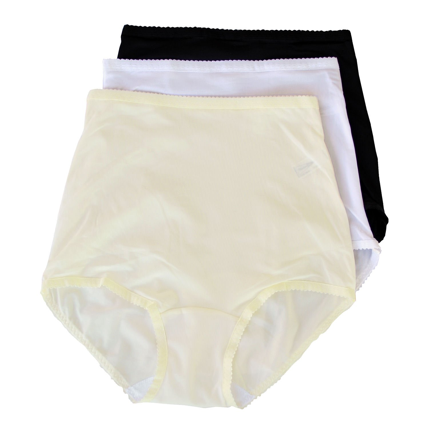 Shadowline Nylon Spandex Briefs, Panties, Style 17005 (pkg Of 3-White,Black,Ivory), 2X