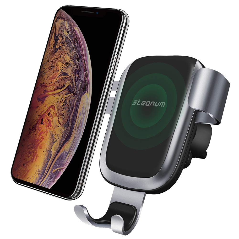 Wireless Car Charger,Steanum Car Fast Wireless Charger Car Mount Air Vent Phone Holder Compatible for iPhone Xs Max/Xs/Xr/X/8/8+,Galaxy S9/S9+/S8/S8+/S7/S6 Edge/Note8/5&More 2019 by steanum