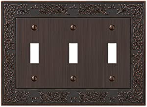 Amerelle English Garden Triple Toggle Cast Metal Wallplate in Aged Bronze