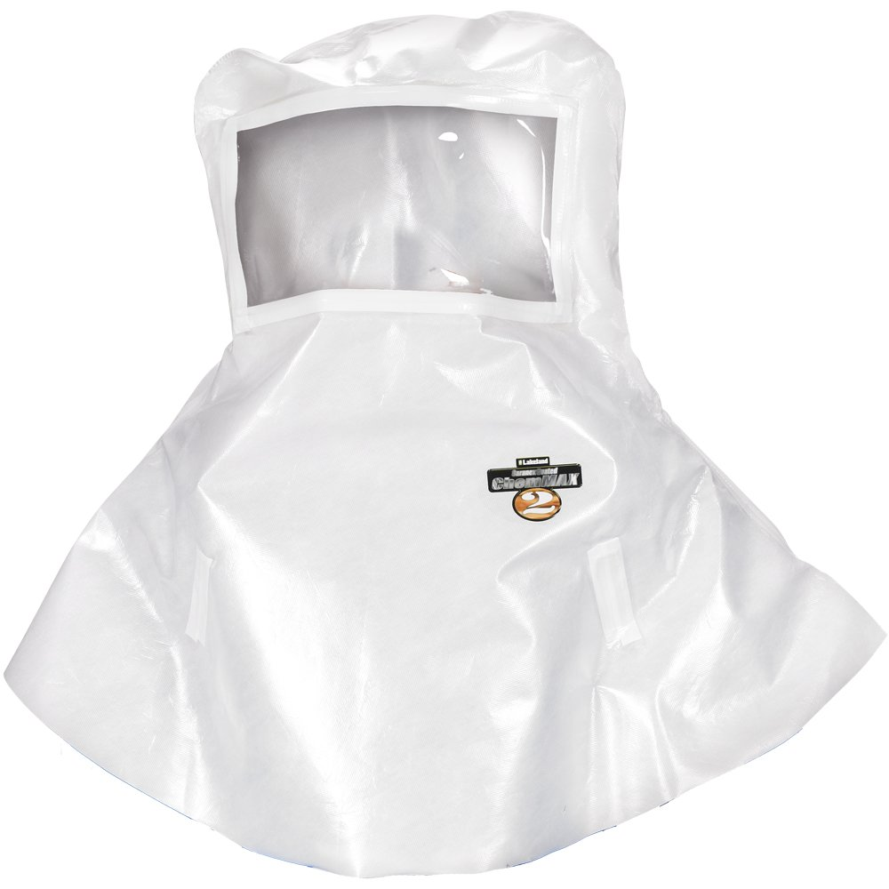 Lakeland ChemMax 2 Taped Seam Bell Shaped Hood, Disposable, White (Case of 6)