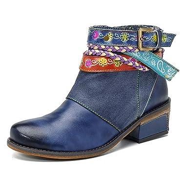SERAPH Mujeres Cómodos Botines De Cuero Correa De Cremallera Tacón Bajo Vaquero Botines Zapatos Oxford: Amazon.es: Ropa y accesorios