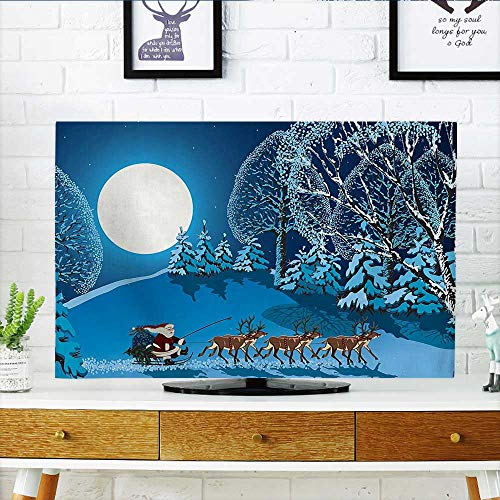 Collection Full Sleigh - Auraisehome Dust Resistant Television Protector Collection Santa in Sleigh a Holy Night with Full Moon Snowy Winter Theme tv dust Cover W36 x H60 INCH/TV 65