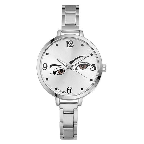 Mujer Ojos Reloj de pulsera acero inoxidable Pulsera mujer Reloj analógico Quartz Reloj Plata Color
