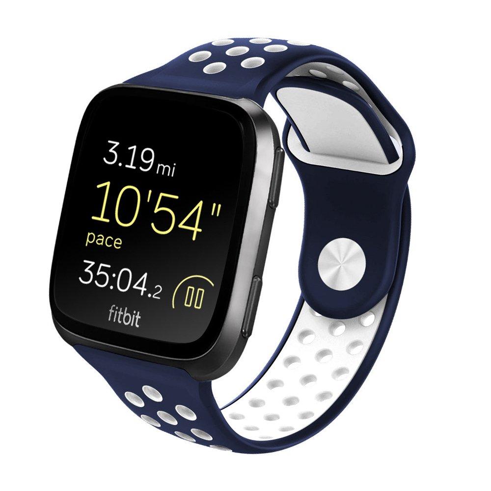 popotrading for Fitbit Versaバンドシリコン、ソフトシリコン交換用ストラップスポーツバンドブレスレットリストバンドfor Fitbit Versa Smartwatch Fitness B07D8X6JQG Bule-White Small
