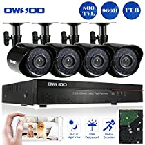 OWSOO 4CH Full 960H/D1 Video Security System HDMI P2P Cloud Network DVR with 1TB Hard Drive & 4 Indoor/Outdoor Infrared Cameras, IR-CUT Night Version Motion Detection Email Alarm Support