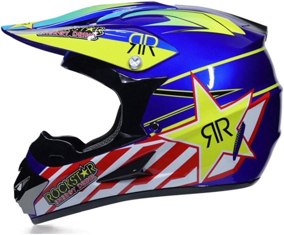 オフロードバイクヘルメット山岳自転車用ヘルメット屋外用乗馬用ヘルメットプロ用レーシング防護具 (Color : 青, Size : XL)
