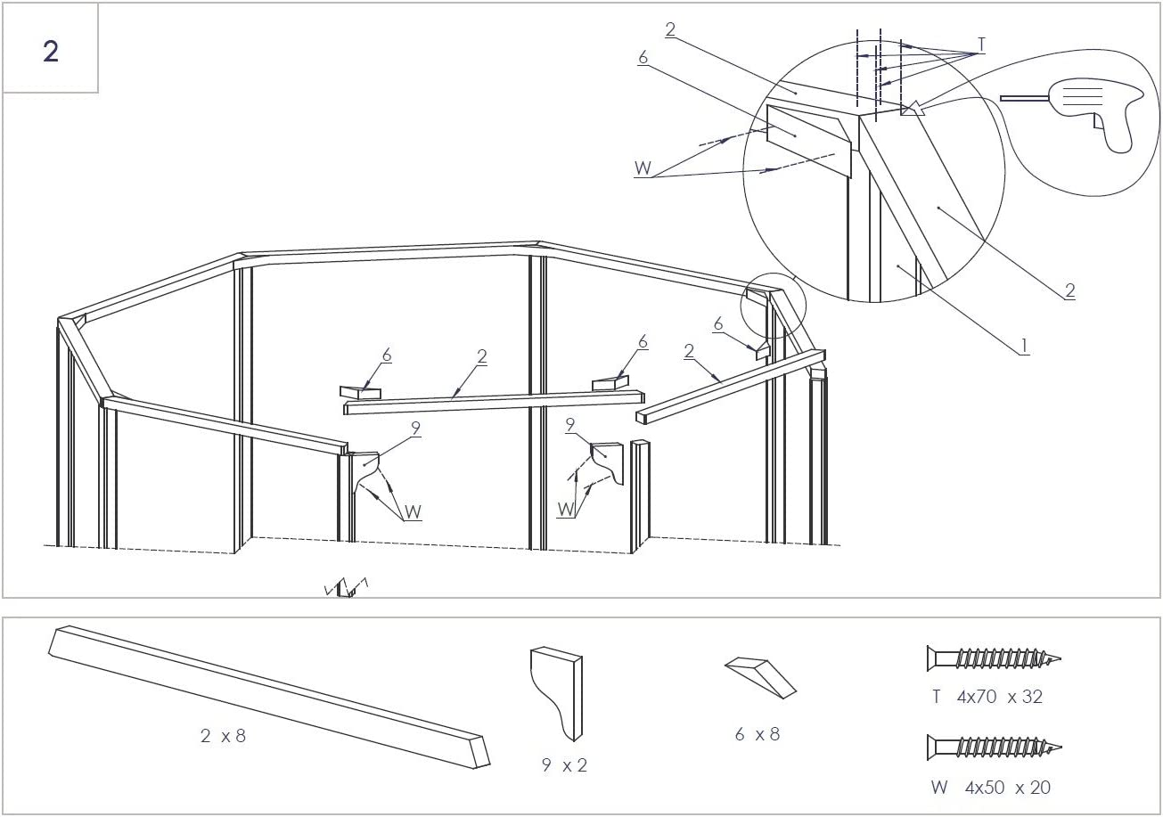 Cenador de madera octogonal para jardín, diámetro de 3,5 m: Amazon ...
