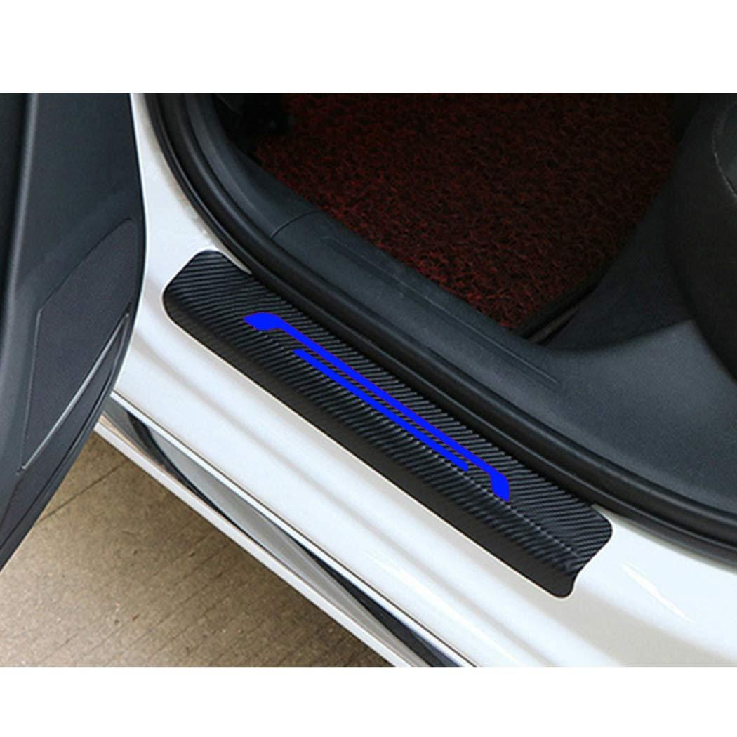 For Jeep Wrangler Compass Door Sill Scuff Guard Carbon Fibre Protection Sticker Anti-Kick 4PCS Red