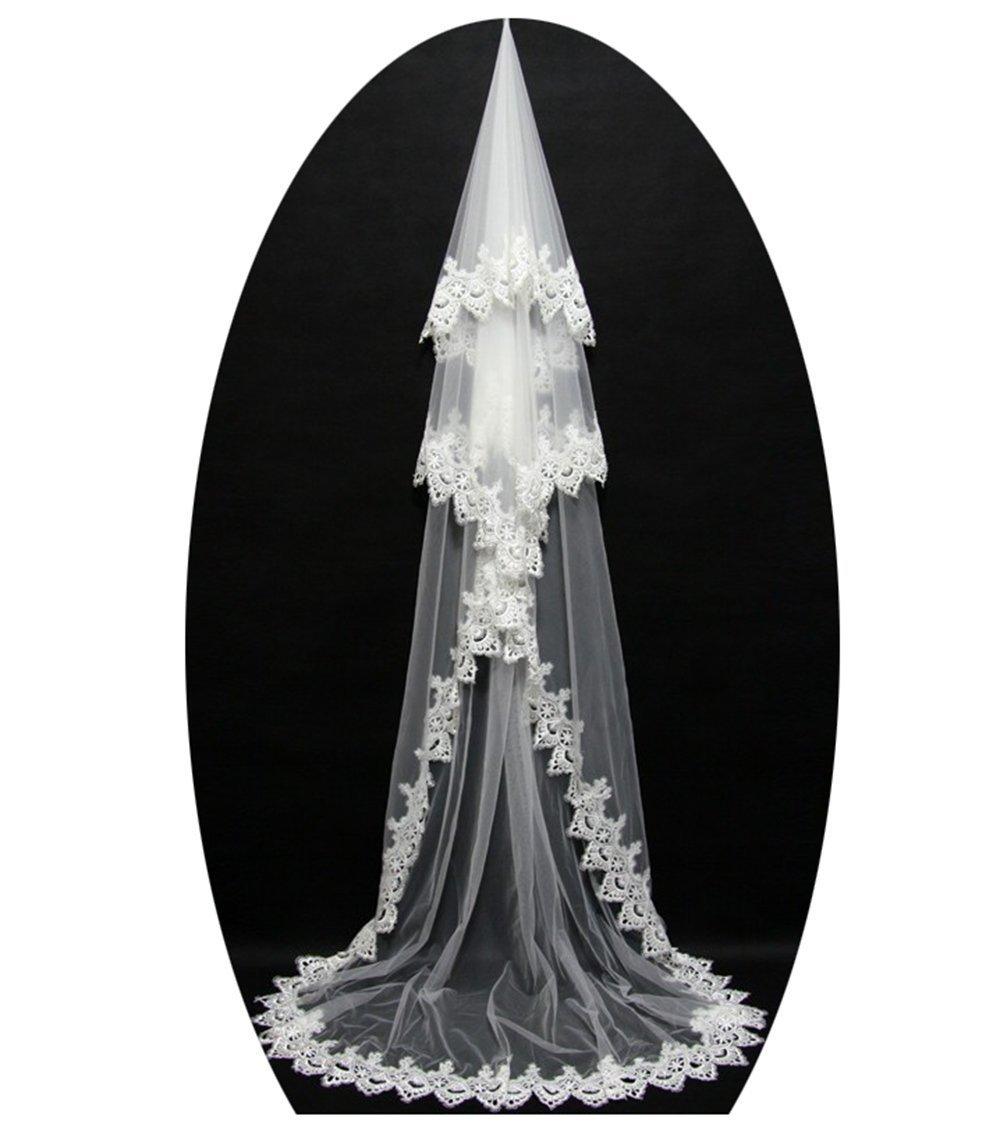 alilith.Z Women's Wedding One Tier Appliques Lace Edged Long Bridal Veil