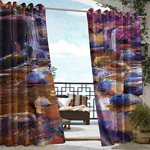 VIVIDX Living Room/Bedroom Window Curtains,Waterfall,for Patio/Front Porch,W84x96L Chocolate Pink Teal (Preston Chocolate)