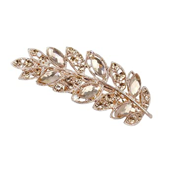 A Schöne Silber Blumen Ring Strass Metall Haarspange