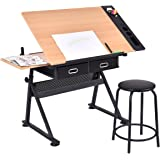 Tangkula Drafting Desk Drawing Table Adjustable with Stool and Drawer