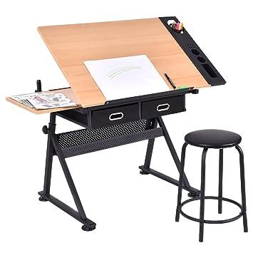 Tangkula Drafting Desk Drawing Table Adjustable With Stool And Drawer