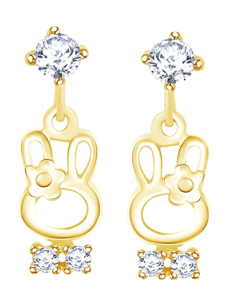 Round Cut White Cubic Zirconia Bunny Rabbit Dangle Stud Earring In 14K Yellow Gold Over Sterling Silver