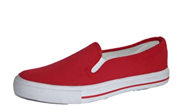 04a93a0fb47e Womens Dunlop Canvas Slip On Espadrille Pumps Red Wide and Standard Width  (5 UK