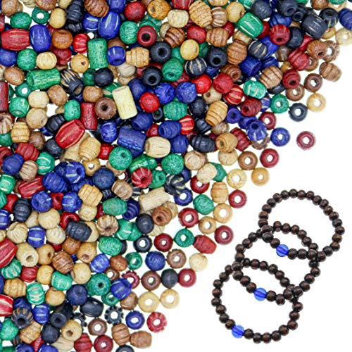 Over 1800 Pieces Wood Beads for Jewelry Making with 3 Free Sample Bracelets - Assorted Natural Wooden Bead Styles - Great for African, Native American Designs, Macramé Bracelets, Necklaces, Braids