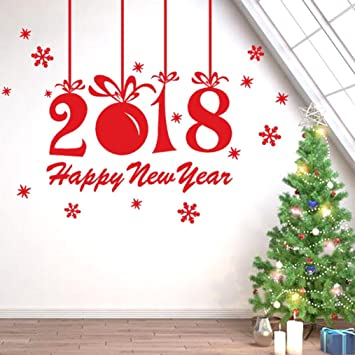 cyctech christmas 2018 happy new year removable background wall stickers shop window home decoration