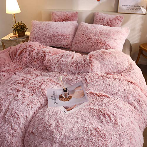 XeGe Plush Shaggy Duvet Cover Set Luxury Ultra Soft Crystal Velvet Bedding Sets 3 Pieces(1 Faux Fur Duvet Cover + 2 Faux Fur Pillow Cases),Zipper Closur (King, Pink Ombre)