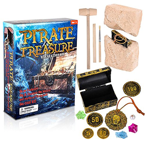 ArtCreativity Pirate Treasure Dig Kit for Kids | Gem Excavation Set with Digging Tools | Interactive Excavating Toys | Great Birthday Gift Idea/ Contest Prize for Boys and ()