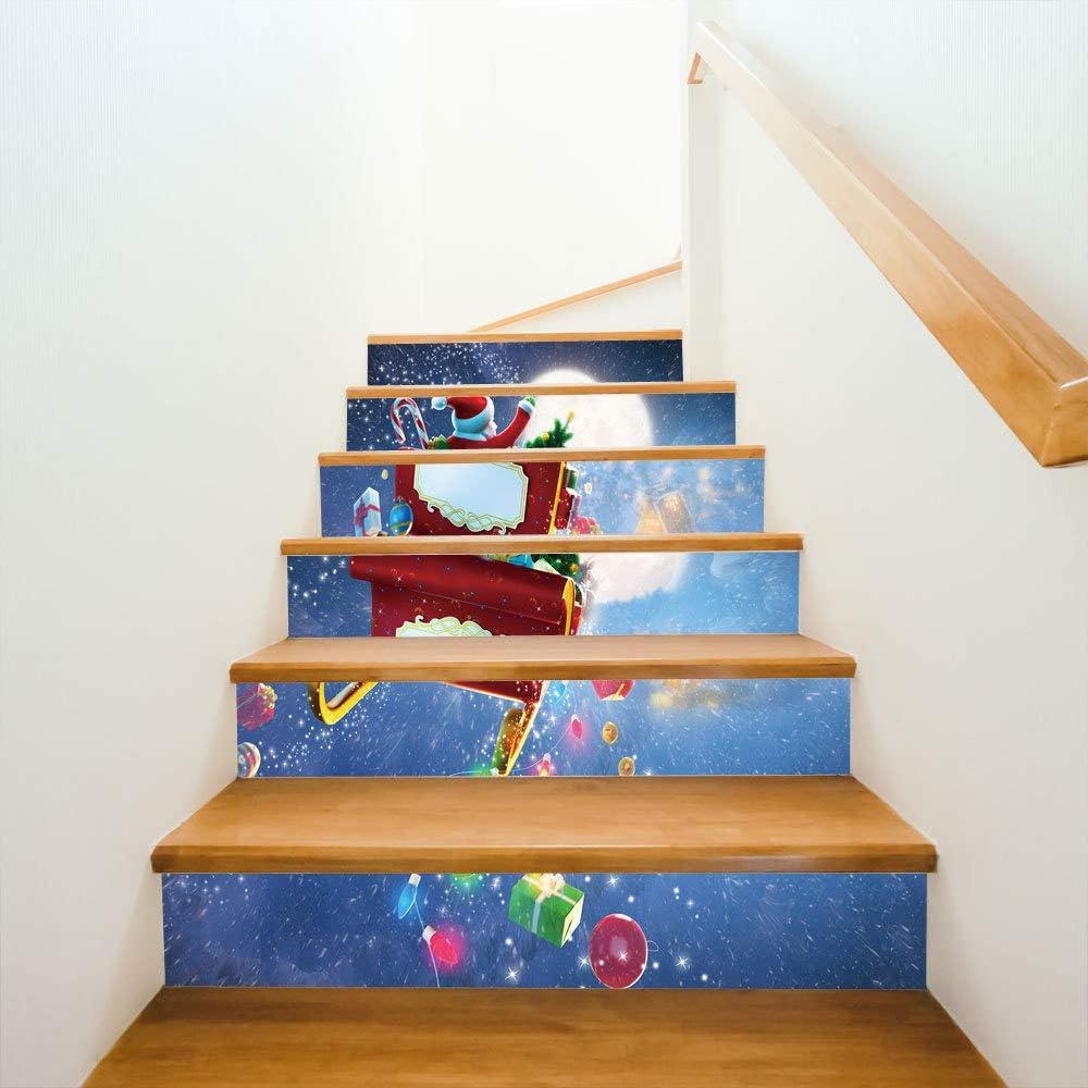 6 Piezas/Juego De Pegatinas De Escalera Vestido De Navidad, Regalo De Navidad, Ve A La Escalera, Vinilos Decorativos. 18CM*100CM: Amazon.es: Bricolaje y herramientas