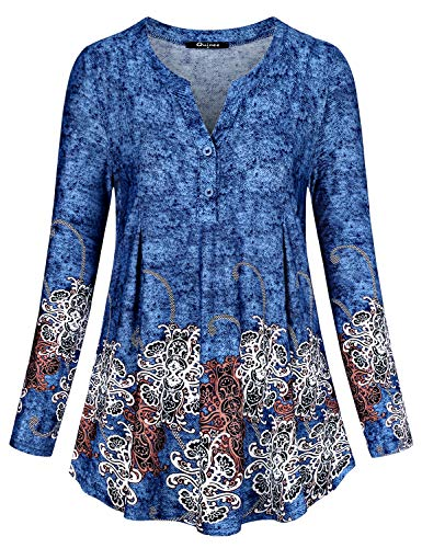 - Quinee Blouses for Women Fashion 2018, Womens Split Neck Long Sleeve Flattering Workout Shirred Floral Printed Button Slim Fit Soft Tunics with Leggings Maternity Tops and Shirts Blue L