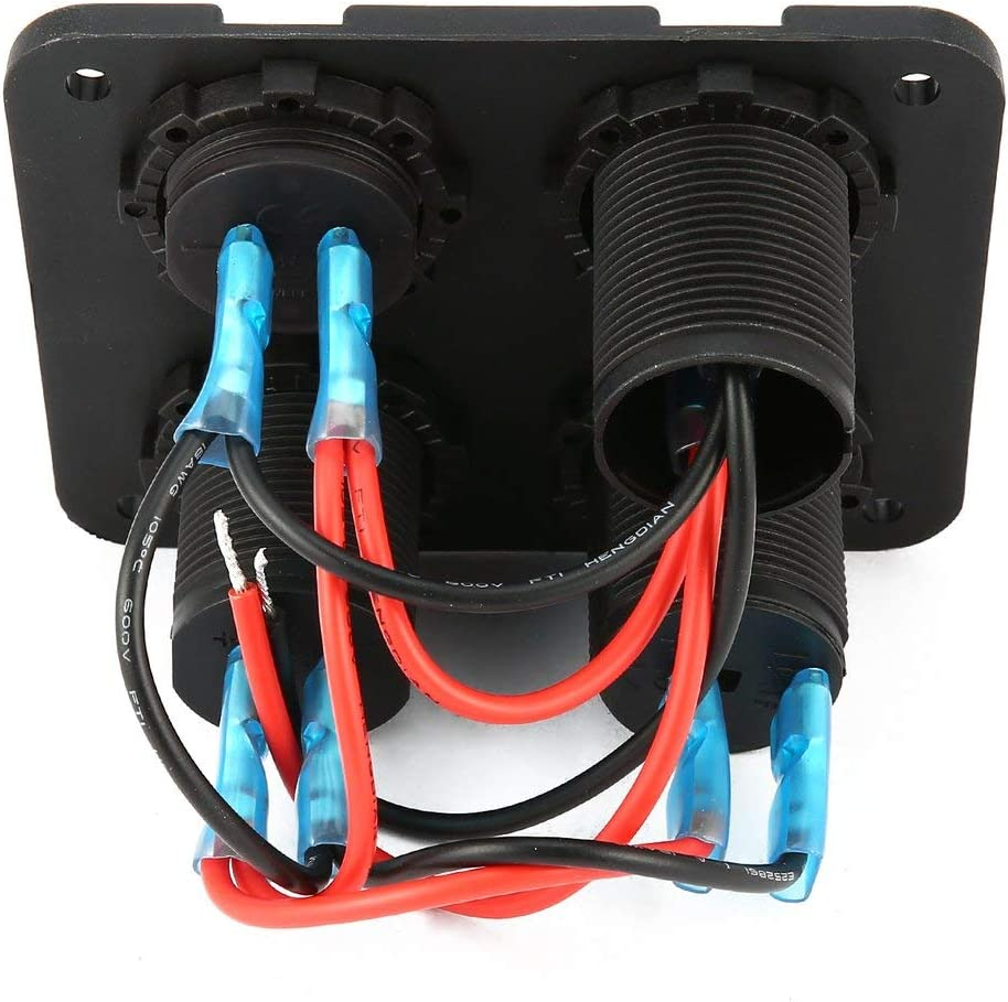12-V-Steckdose Ein-Aus-Schalter 4-in-1-Auto-Marineboot-LED-Schalttafel LED-Voltmeter sdfghzsedfgsdfg Dual USB-Anschl/üsse Autoladeger/ät