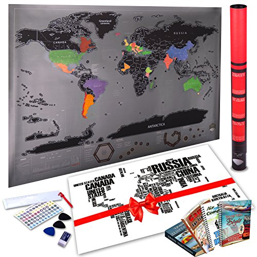 Scratch Off World Map By Amazmap: Travel Poster With Memory Activity Stickers, Detailed Map With USA, Canada And Australia Outlines –With Scratching Tool, Eraser, Magnifier And E-Books