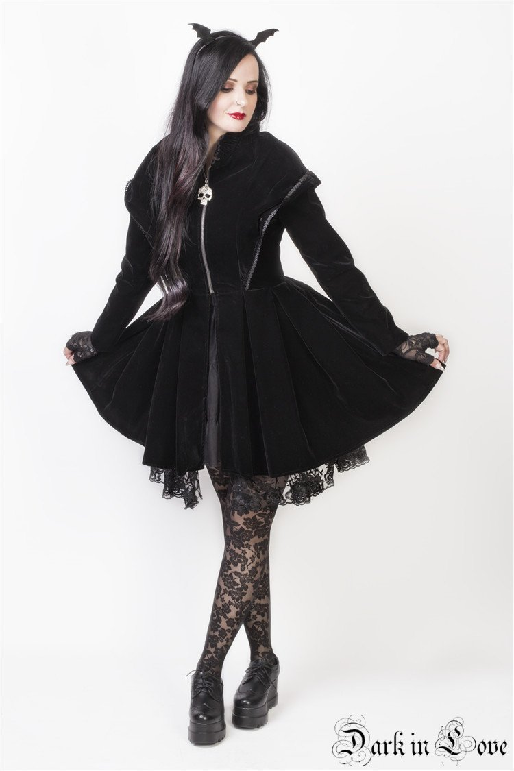 JW102 Gothic dark velvet jacket with pleated hem