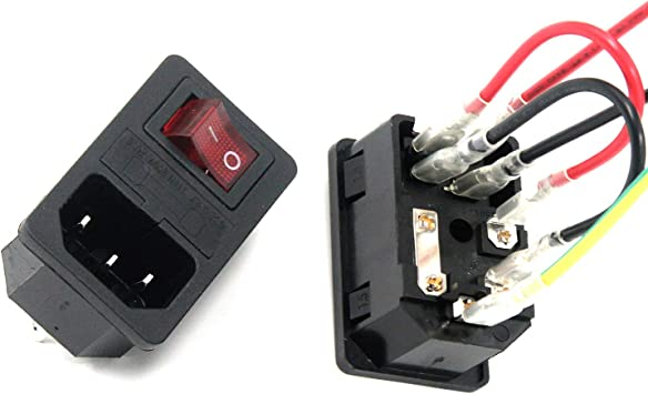 Antrader 2pcs AC250V 10A IEC 320 C14 Inlet Panel Socket w Fuse w Red Light  Rocker Switch Power Supply Terminal Crimps Connector with Wires - -  Amazon.com   Adapter Power Supply Fuse Box      Amazon.com