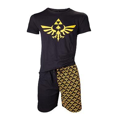 Nintendo Legend Of Zelda Mens Shortama Nightwear Set, Small, Black/Gold