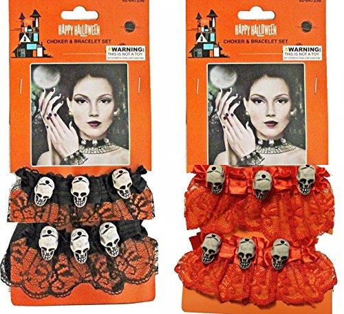 Catrina Costume For Kids (Skulls Choker and Bracelet Set of 2)
