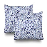 Soopat Decorative Throw Pillow Cushion Cover 18''X18'' Set of 2, Vintage Portugal Azulejo Majolica Pottery Tile Blue And White Original Traditional Portuguese Spain Turkish Islam ArabicDecorative Home