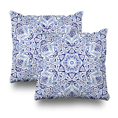 Soopat Decorative Throw Pillow Cushion Cover 18''X18'' Set of 2, Vintage Portugal Azulejo Majolica Pottery Tile Blue And White Original Traditional Portuguese Spain Turkish Islam ArabicDecorative Home by Soopat